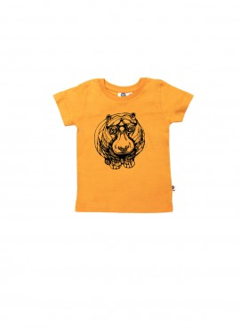 Baby, organic, t-shirt, short-sleeved, yellow, hippo