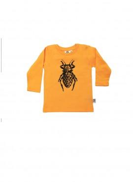 Baby, øko, t-shirt, langærmet, gul, bille