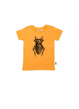 Baby, organic, t-shirt, short-sleeved, yellow, beetle