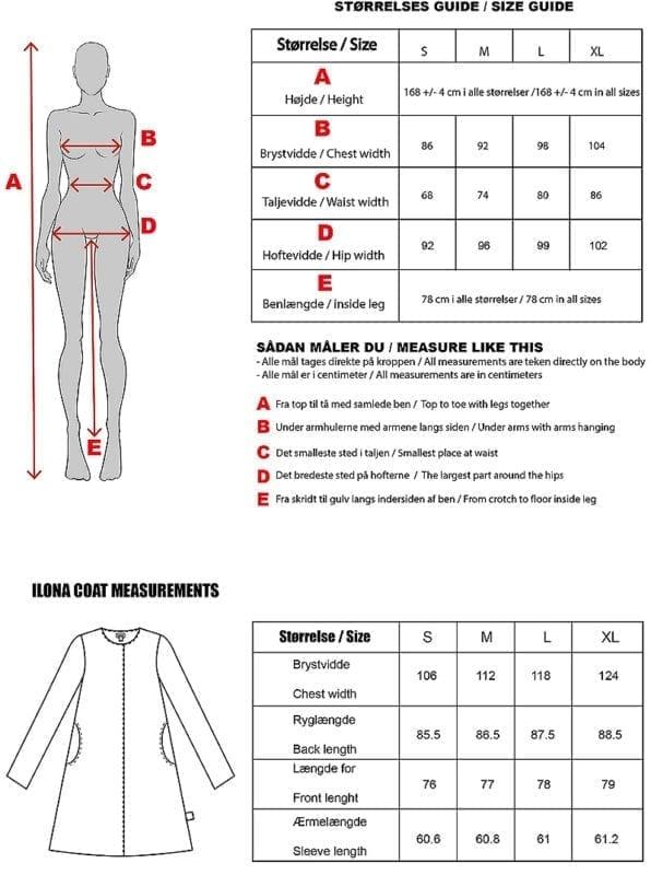 Ilona Coat Size chart