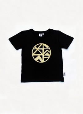 T-shirt, sort, logo i guld
